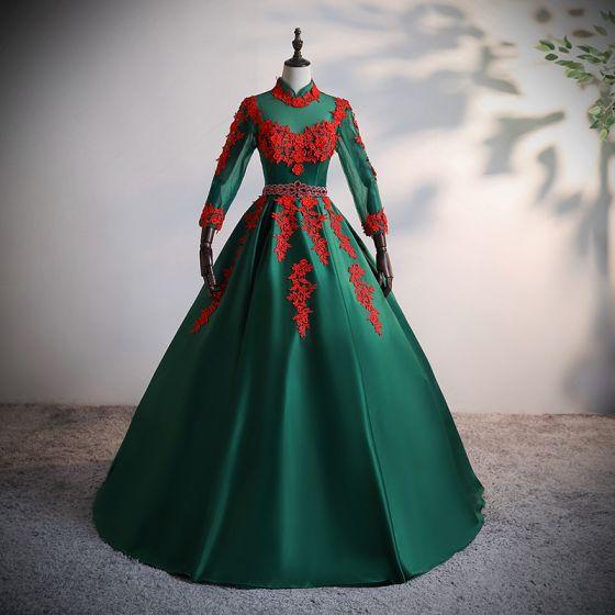 Vintage Ciemnozielony Satyna Taniec Sukienki Na Bal 2020 Suknia Balowa Przezroczyste Wysokiej Szyi Długie Rękawy Aplikacje Z Koronki Frezowanie Rhinestone Długie Wzburzyć Bez Pleców Sukienki Wizytowe