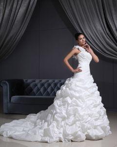 Taffetas Une Epaule Volants Chapelle Nuptiale A-ligne Robe De Mariage De Robe