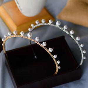 Mooie / Prachtige Hair Hoop Bruids Haaraccessoires 2020 Legering Parel Rhinestone Haaraccessoires Huwelijk Accessoires