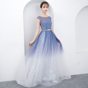 Chic / Beautiful Gradient-Color Floor-Length / Long Evening Dresses  2018 A-Line / Princess Tulle U-Neck Striped Backless Evening Party Formal Dresses