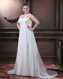 Chiffon Perlen Ein Schultergurt Bodenlangen Große Größen Brautkleider Hochzeitskleid