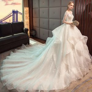 Charming Ivory Wedding Dresses 2019 Ball Gown Scoop Neck Lace Flower Beading Tassel Short Sleeve Backless Cascading Ruffles Cathedral Train Wedding