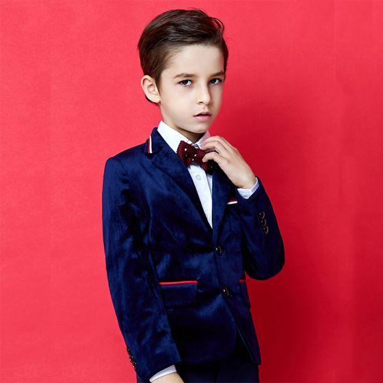 Mode Bleu Roi Velour Costumes De Mariage pour garçons 2020 Manches Longues Manteau Pantalon Chemise Cravate Gilet