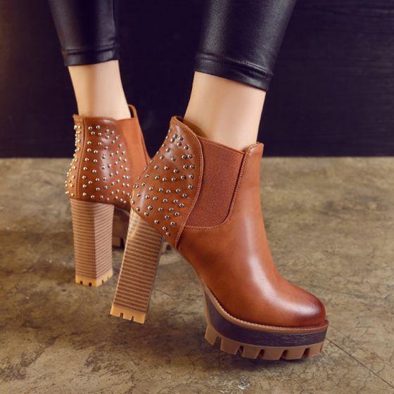 Mode Tan Streetwear Nitte Støvler Dame 2021 11 cm Tykke Hæle Runde Tå Støvler