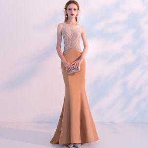 Modern / Fashion Orange See-through Evening Dresses  2018 Trumpet / Mermaid Scoop Neck Sleeveless Beading Sweep Train Ruffle Backless Formal Dresses