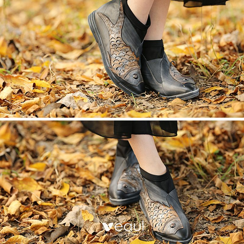 Chic / Beautiful 2017 Black Brown Casual Outdoor / Garden Leather Fall Spring Winter Appliques Flat Boots Womens Shoes