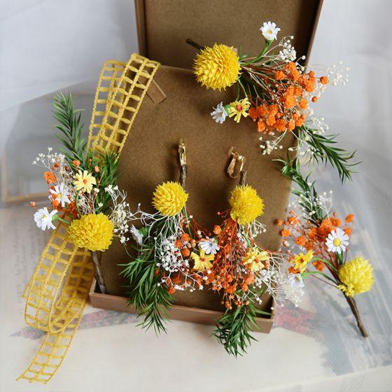 Najpiękniejsze / Ekskluzywne Pomarańczowy Opaski na głowę Kwiat Ozdoby Do Włosów Ślubne 2020 Kolczyki Ozdoby Do Włosów Akcesoria