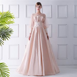 Modern / Fashion Champagne See-through Prom Dresses 2019 A-Line / Princess Scoop Neck Puffy Long Sleeve Appliques Flower Sweep Train Ruffle Backless Glitter Formal Dresses
