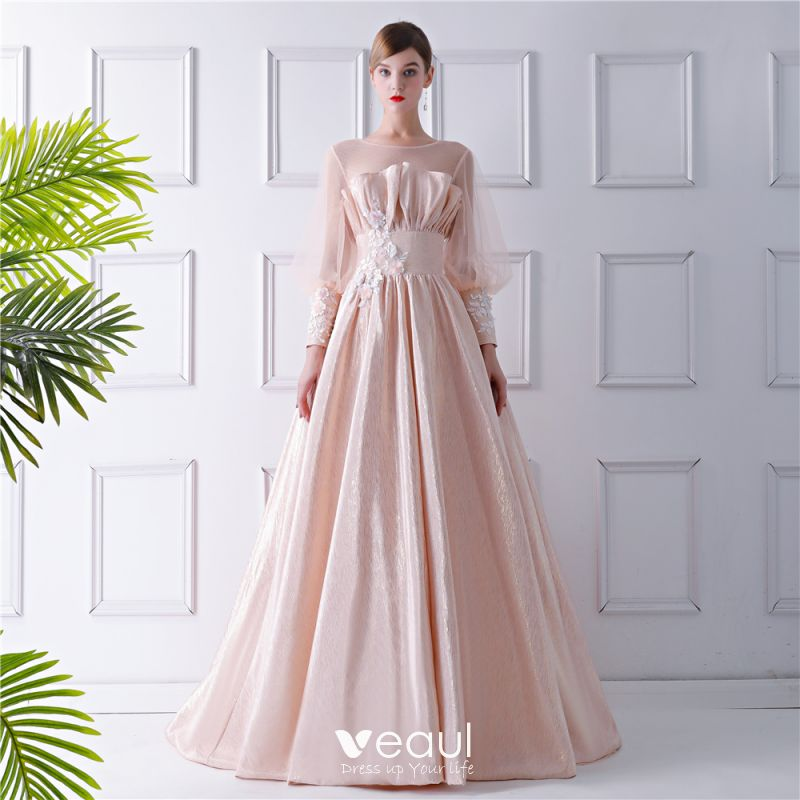 25b66b01238 Modern   Fashion Champagne See-through Prom Dresses 2019 A-Line   Princess Scoop  Neck Puffy Long Sleeve Appliques ...