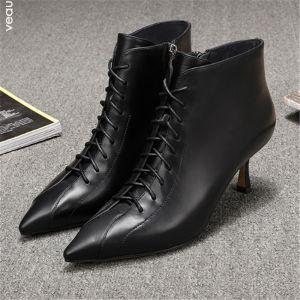 Moda Negro Ropa de calle Cuero Botas de mujer 2020 5 cm Stilettos / Tacones De Aguja Punta Estrecha Botas