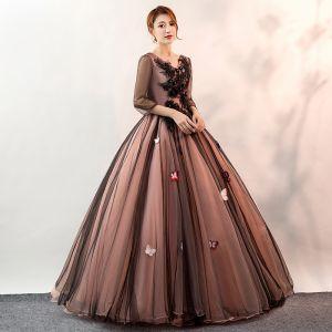 Elegantes Negro Vestidos de gala 2020 Ball Gown V-Cuello mariposa Apliques Con Encaje Flor 3/4 Ærmer Sin Espalda Largos Vestidos Formales