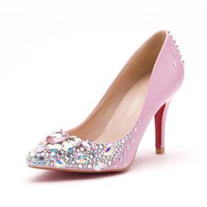 484a89f9605 Pink Handmade Shine Rhinestone Simple Bridal Shoes   Wedding Shoes   Woman  Shoes