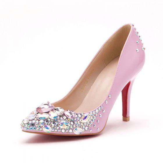 Pink Handmade Shine Rhinestone Simple Bridal Shoes / Wedding Shoes / Woman Shoes