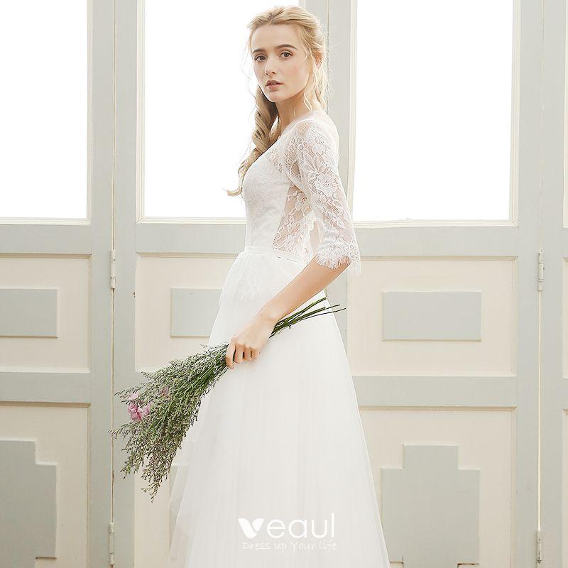 Elegant Beach Wedding Dresses 2017 White A-Line / Princess Floor-Length / Long Scoop Neck 1/2 Sleeves Backless Lace Appliques