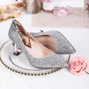 Sparkly Silver Sequins Wedding Shoes 2020 Ankle Strap 8 cm Stiletto Heels Pointed Toe Wedding Pumps