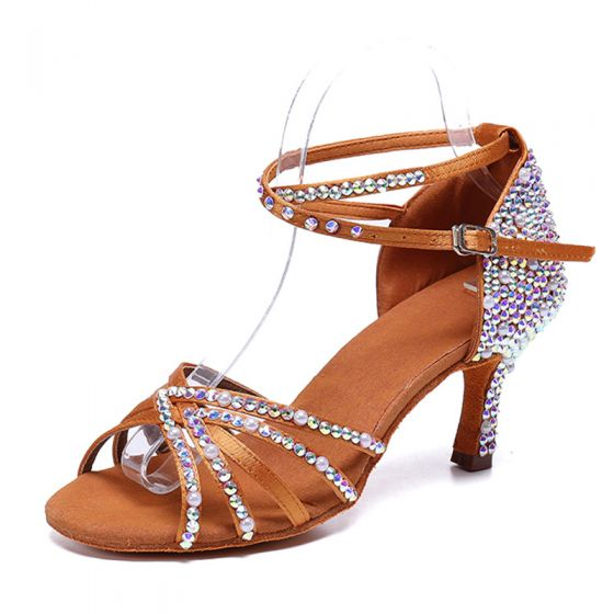 Charming Brown Rhinestone Latin Dance Shoes 2020 Satin Ankle Strap 8 cm Stiletto Heels Open / Peep Toe Dancing Sandals
