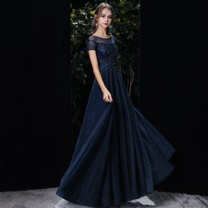 Chic / Beautiful Navy Blue See-through Evening Dresses  2020 A-Line / Princess Scoop Neck Short Sleeve Sequins Beading Sash Floor-Length / Long Ruffle Backless Formal Dresses