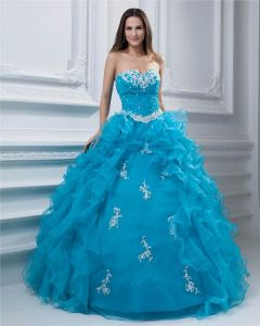 Ball Gown Beaded Ruffle Yarn Sweetheart Ankle Length Quinceanera Prom Dresses