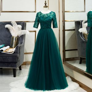 Chic / Beautiful Green See-through Evening Dresses  2020 A-Line / Princess Scoop Neck 1/2 Sleeves Appliques Lace Sequins Floor-Length / Long Ruffle Formal Dresses