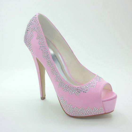 Scintillantes Chaussures De Mariée Rose Escarpins Talons Aiguilles En Satin Avec Strass