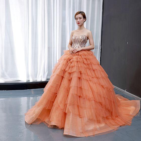 High-end Orange Prom Dresses 2020 Ball Gown Sweetheart Sleeveless Handmade  Beading Chapel Train Cascading Ruffles Backless Formal Dresses