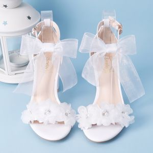 Elegant White Summer Wedding Shoes 2018 Lace-up Buckle Bow Pearl Rhinestone 7 cm Thick Heels Open / Peep Toe Wedding Heels