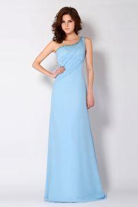 Gracieuse D'une Ligne De Perles De Cristal Une Épaule Robe De Soirée Longue Robe De Ceremonie Bleue
