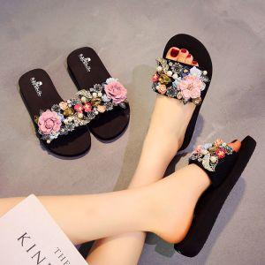 Moderne / Mode Noire Été Désinvolte Pantoufle & Tongs 2018 Appliques Cristal Perle 5 cm Plateforme Compensées Peep Toes / Bout Ouvert Chaussures Femmes