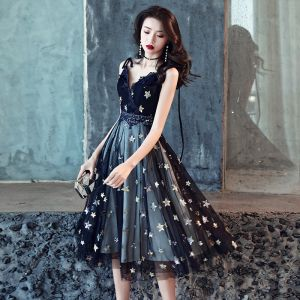 Modern / Fashion Navy Blue Party Dresses 2018 A-Line / Princess Star Sequins Lace Flower Spaghetti Straps Sleeveless Backless Knee-Length Formal Dresses