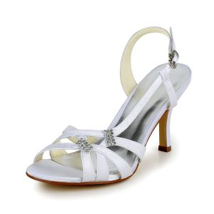 Fashion Strappy Sandals Stiletto Heels White Satin Bridal Shoes