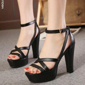 Chic / Belle Noire Désinvolte Sandales Femme 2020 Bride Cheville 11 cm Talons Épais Peep Toes / Bout Ouvert Sandales