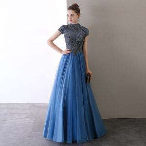 Vintage / Retro Ocean Blue Prom Dresses 2020 A-Line / Princess High Neck Beading Crystal Sequins Short Sleeve Backless Floor-Length / Long Formal Dresses