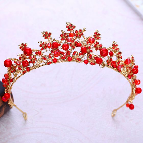 Chic / Beautiful Red Crystal Rhinestone Tiara 2018 Gold Metal Accessories