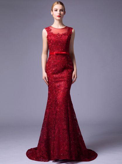 2016 Elegancka Miarka Dekolt Bez Pleców Czerwone Rhinestone Koronki Suknia Wieczorowa Z Szarfą