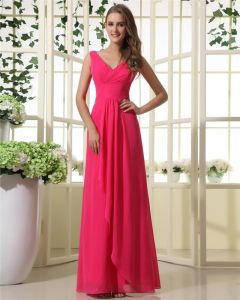 V-Neck Chiffon Floor Length Empire Bridesmaid Dress