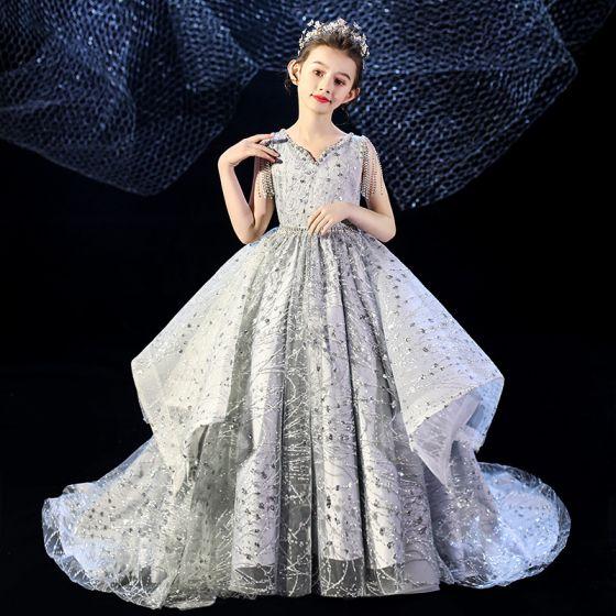 Uroczy Szary Sukienki Dla Dziewczynek 2020 Suknia Balowa V-Szyja Bez Rękawów Cekiny Frezowanie Kutas Trenem Sąd Wzburzyć