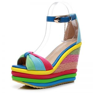 Fashion Casual Braid Rainbow Womens Sandals 2020 Ankle Strap 13 cm Wedges Open / Peep Toe Sandals