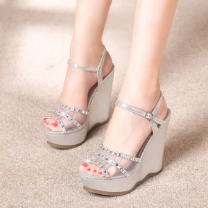 Sparkly Outdoor / Garden Womens Sandals 2017 PU Rhinestone Wedges High Heels High Heel Open / Peep Toe Sandals