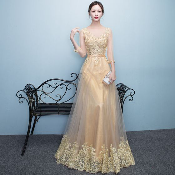 Chic / Beautiful Formal Dresses 2017 Evening Dresses  Gold A-Line / Princess Floor-Length / Long Scoop Neck Long Sleeve Sash Lace Appliques Pearl Sequins