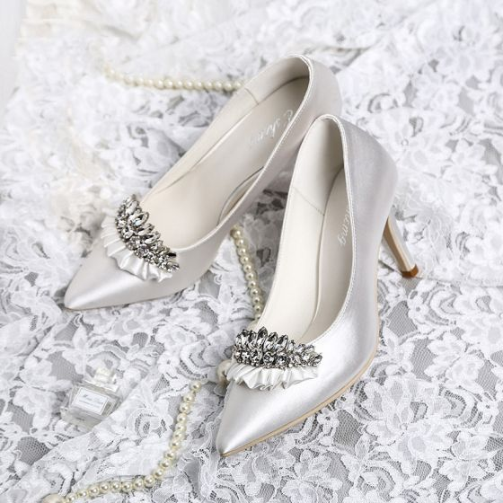 Luxury / Gorgeous White Wedding Shoes 2019 Leather Rhinestone 8 cm Stiletto Heels Pointed Toe Wedding Pumps
