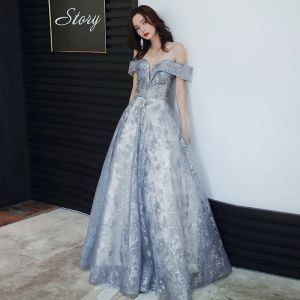 Charming Sky Blue Evening Dresses  2020 A-Line / Princess Off-The-Shoulder Sequins Sleeveless Backless Floor-Length / Long Formal Dresses