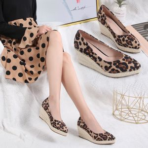 Chic / Beautiful Blushing Pink Street Wear Braid Womens Shoes 2020 Leopard Print 7 cm Wedges Pointed Toe