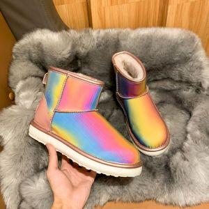 Maravilloso Bling Bling Arco iris Multi-Colors Botas De Nieve 2020 De lana Láser Charol Cuero Exterior / Jardín Casual Botas de mujer