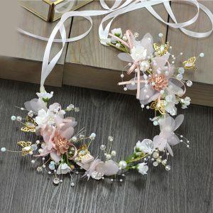 Bloemenfee Blozen Roze Hoofdbanden Bruids Haaraccessoires 2020 Legering Lace-up Bloem Parel Haaraccessoires Huwelijk Accessoires