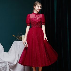 Vintage Borgoña Vestidos de gala 2020 Ball Gown Transparentes Cuello Alto Hinchado Manga Corta Rebordear Glitter Tul Té De Longitud Ruffle Vestidos Formales