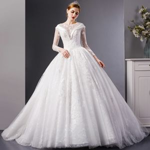 Charming Ivory See-through Wedding Dresses 2019 Ball Gown Square Neckline Long Sleeve Backless Pierced Appliques Lace Beading Chapel Train Ruffle