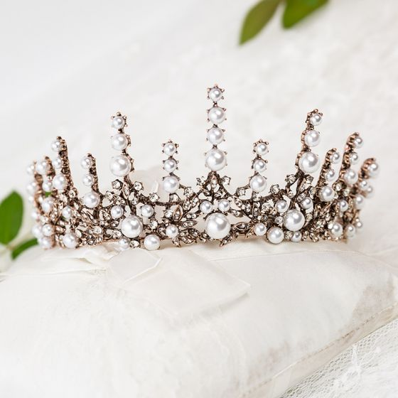 Vintage / Retro Bronze Bridal Hair Accessories 2020 Metal Rhinestone Pearl Tiara Wedding Accessories