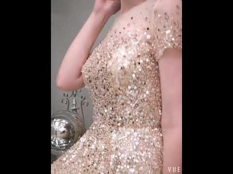 High-end Gold See-through Evening Dresses  2019 A-Line / Princess Square Neckline Short Sleeve Sequins Beading Sweep Train Formal Dresses
