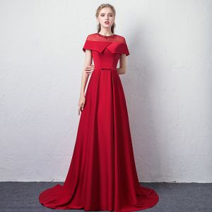 Chic / Beautiful Burgundy See-through Evening Dresses  2019 A-Line / Princess Scoop Neck Short Sleeve Rhinestone Bow Sash Sweep Train Ruffle Backless Formal Dresses