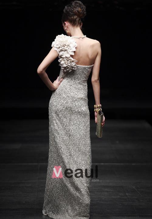 One Shoulder Silver Filament Laser Flowers Floor-length Women's evening Dress